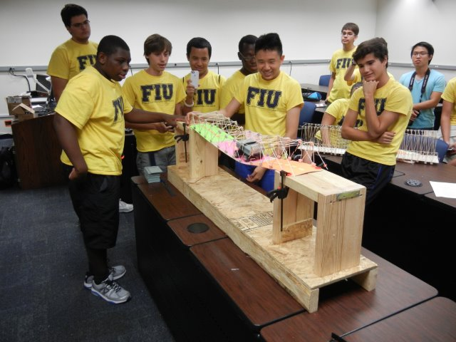 2nd team loads their balsa wood bridge