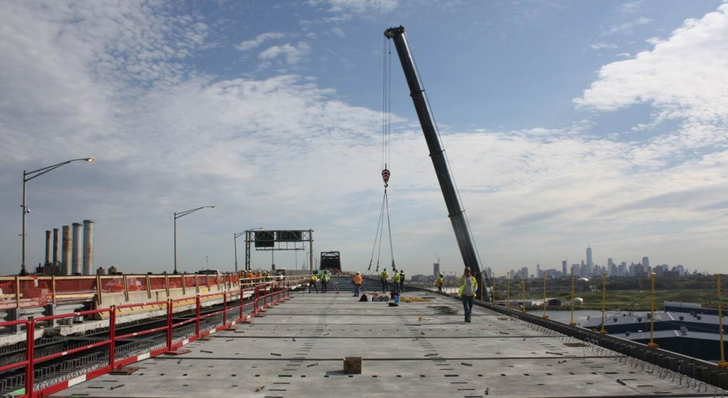 Precast deck on Pulaski Skyway Bridge