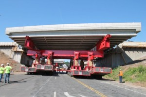 Moving new EB span in on SPMTs