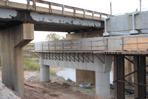 New substructures constructed while existing bridge remained in service